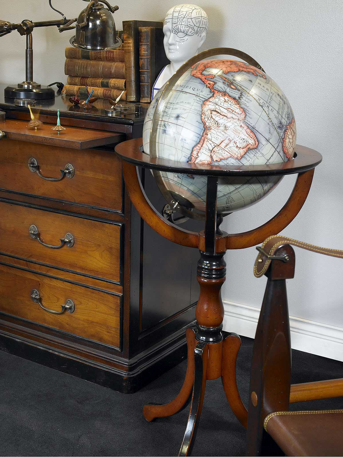 Antique Library Globe (reproduction) or old globe or historical globe