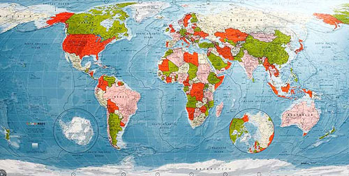 World map in red to lime to cream to pink or map of world or map of world map in red to lime to cream to pink from future mapping co gumiabroncs Image collections