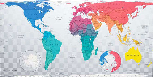 World map in blue to emerald to pink to yellow or map of world or world map in blue to emerald to pink to yellow from future mapping co gumiabroncs Choice Image