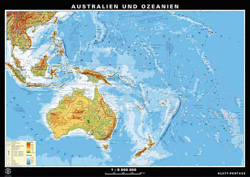 Australia And Oceania Map Or Map Of Australia Oceania - Physical map of oceania