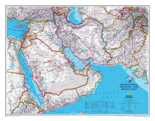 Afghanistan and Pakistan and Middle East Map or Map of Afghanistan