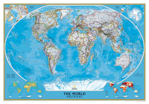 """World Map """"Clic"""" Serie (3 parts) or Map of World or Map ... on europe shaded on a world map, national geographic world mural map, national geographic language world map, national geographic world map wallpaper, national geographic framed world map, national geographic large world map,"""