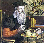 Mercator working out his globe in 1541