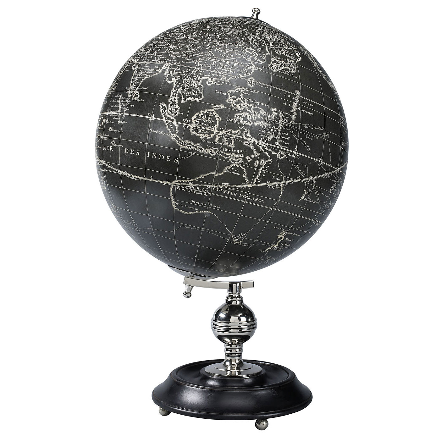 globe terrestre antique vaugondy noir reproduction. Black Bedroom Furniture Sets. Home Design Ideas